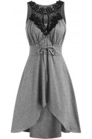 Crochet Panel Lace-up Dip Hem Ruched Bust Dress