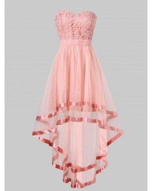 Strapless High Low Maxi Evening Dress