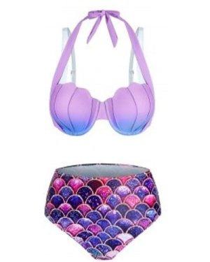 Ombre Mermaid Print Shell Pattern Bikini Set