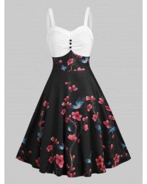 Floral Print Empire Waist Cami A Line Dress