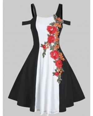 Cold Shoulder Embroidered Colorblock Dress