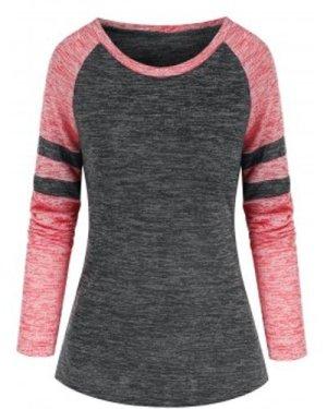 Casual Striped Raglan Sleeve T-shirt