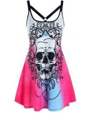 Halloween Skull Flower Print Harness Insert Sleeveless Dress