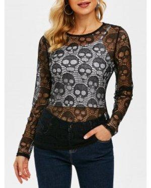 Halloween Skull Pattern Long Sleeve Lace Top