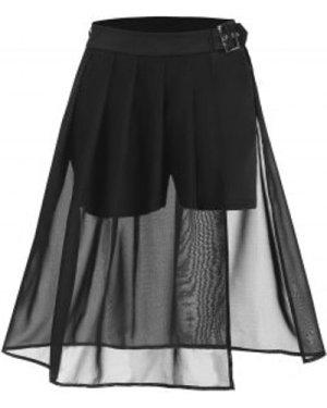 Pleated Solid Sheer Slit Flare Skirt