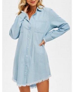 Front Pocket Frayed Denim Shirt Dress