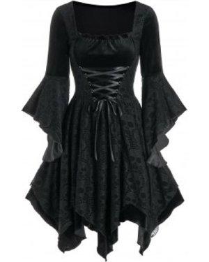 Halloween Skull Lace Insert Velvet Handkerchief Dress