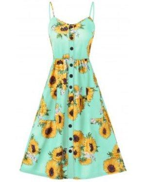 Sunflower Print Button Up A Line Cami Dress