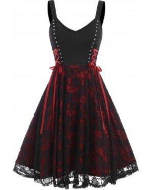 Lace Up Studded Cami Lace Dress