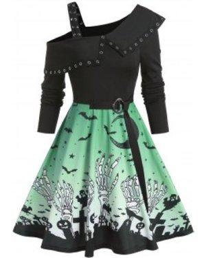 Cold Shoulder Halloween Print Belted Mini Dress
