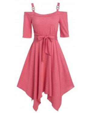 Plain Open Shoulder Bowkont Asymmetrical Dress