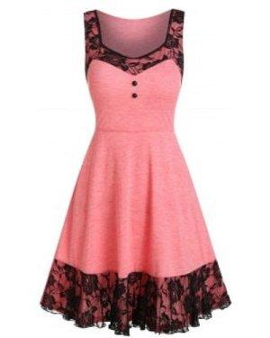 Lace Insert Mock Button Mini Sleeveless Dress