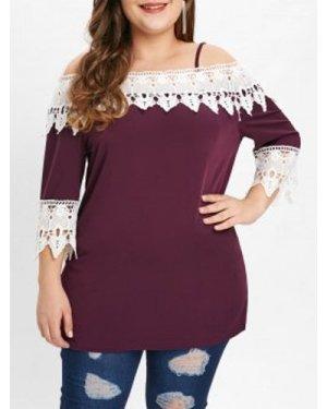 Plus Size Lace Panel T-shirt
