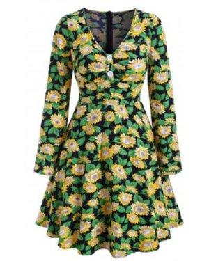 Sunflower Pattern Button V Neck Dress