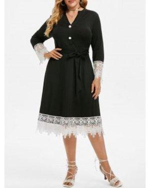 Plus Size Contrast Lace Midi Dress