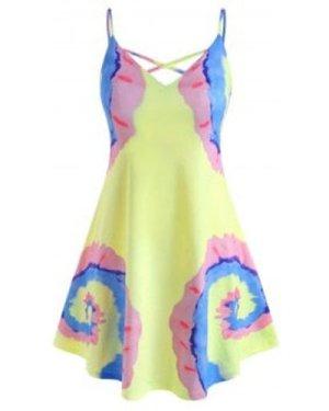 Tie Dye Criss Cross Plus Size Cami Dress