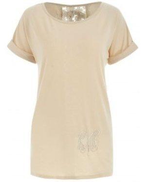 Stylish Lace Embellished Short Sleeve Scoop Neck Women's T-Shirt