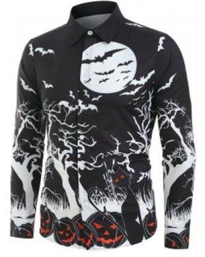 Halloween Night Pumpkins Print Button Up Long Sleeve Shirt