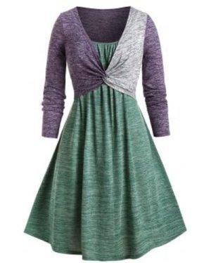 Plus Size Twist T-shirt and Space Dye Cami Dress Set