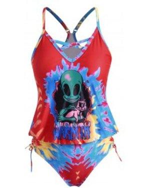 Plus Size Tie Dye Alien Print Crisscross Tankini Swimwear