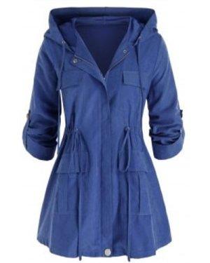 Plus Size Hooded Drawstring Zip Up Cargo Coat