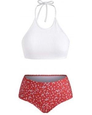 Ditsy Floral Ribbed Tie Crop Tankini Swimwear