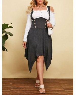 Plus Size Open Shoulder Handkerchief Sailor Button Dress