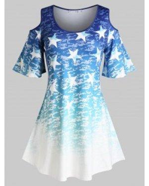 Plus Size Cold Shoulder Ombre Stars Print Blouse