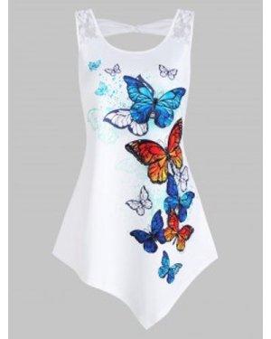 Butterflies Print Lace Panel Asymmetric Tank Top
