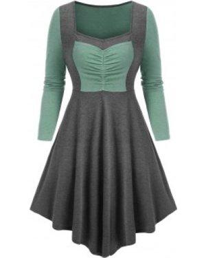 Bicolor Ruched High Waist Asymmetric Dress