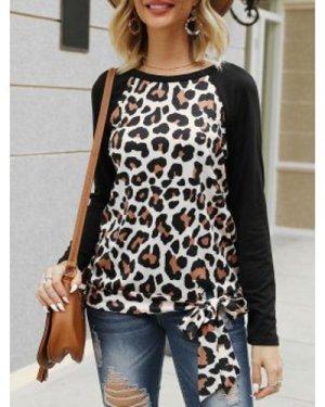 Leopard Print Raglan Sleeve Knotted T-shirt