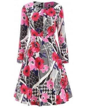 Abstract Print High Waist Dress