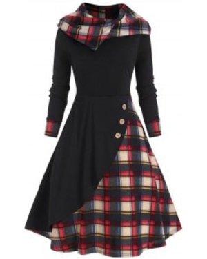 Plaid Hooded Mock Button Overlap Midi Dress