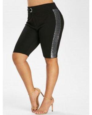 Plus Size Buckles Sequin Shorts