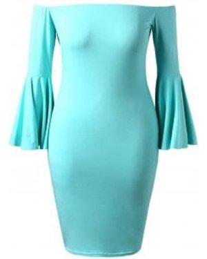 Plus Size Off Shoulder Flare Sleeve Midi Dress