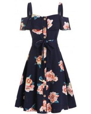 Flower Print Open Shoulder Belted Dress