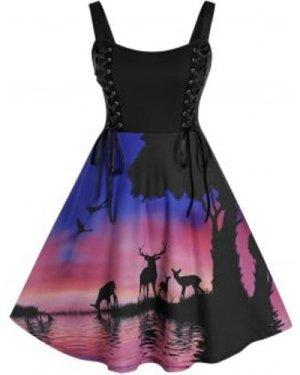 Plus Size Christmas Lace Up 3D Print Dress