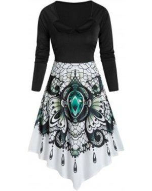 Printed Asymmetrical Vintage Long Sleeve Dress