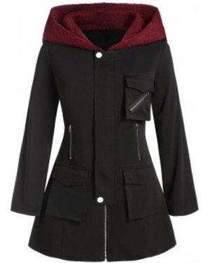 Plus Size Hooded Pockets Cargo Coat