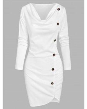 Mock Button Asymmetrical Sheath Dress