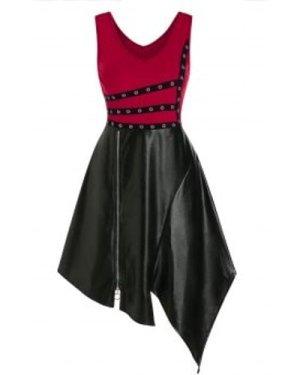 V Neck Grommet Sleeveless Gothic Asymmetrical Dress