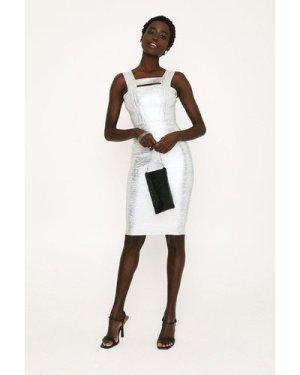 Womens Metallic Strappy Bandage Dress - silver, Silver