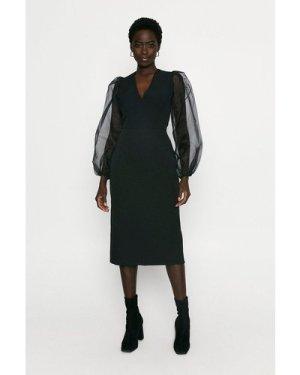 Womens Organza Sleeve Pencil Dress - black, Black