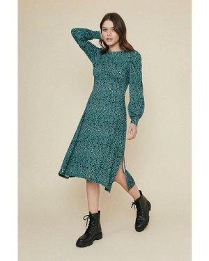 Womens Printed Empire Line Midi Dress - green, Green