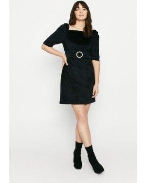 Womens Velvet Shift Dress with Diamante Buckle - black, Black