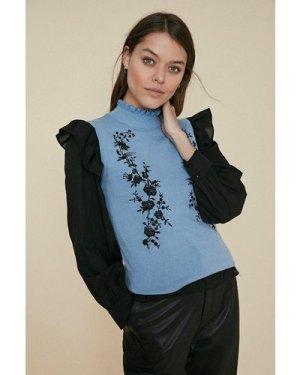 Womens Embroidered Vest - light, Light
