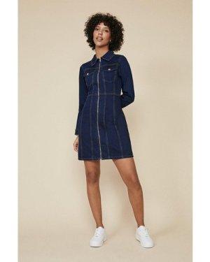Womens Long Sleeved Zip Through Denim Dress - dark wash, Dark Wash
