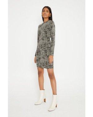 Womens Jacquard Mini Dress - grey, Grey