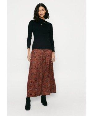 Womens Button Detail Envelope Neck Knitted Jumper - black, Black