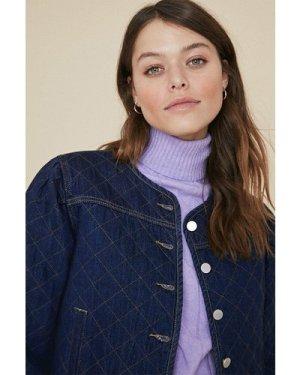 Womens Denim Quilted Jacket - dark, Dark